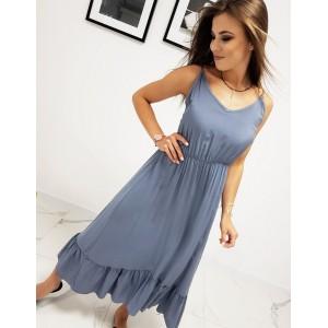 Dlhé dámske modré maxi šaty s volánom a výstrihom do V