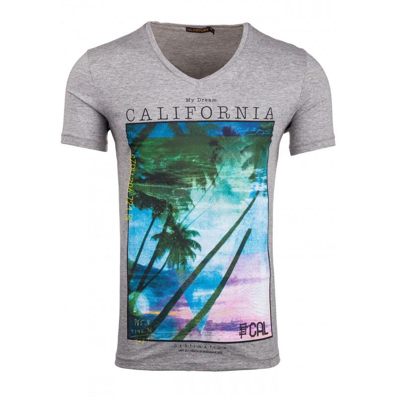 Pánske tričko šedej farby s potlačou California - fashionday.eu e40af951276