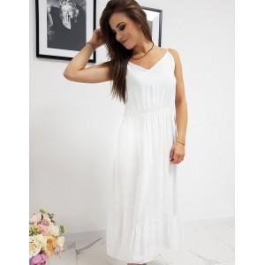 Romantické biele dámske maxi šaty na leto s volánom