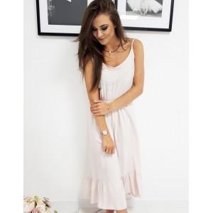 Letné dámske svetlo ružové šaty na ramienka a dolným volánom