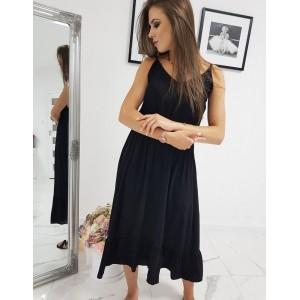 Štýlové dlhé maxi šaty čierne na ramienka s gumou zvyrazňujúcou siluetu