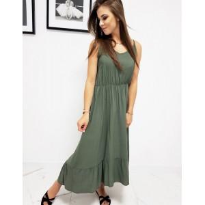 Moderné dámske dlhé letné šaty s volánom v army zelenej farbe