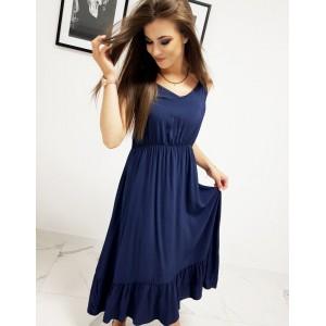 Tmavo modré dámske šaty s výstrihom do V v trendy maxi dĺžke