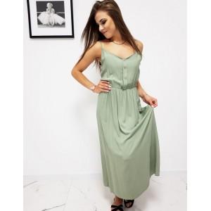 Svetlo zelené dámske dlhé šaty s trendy designovými gombíkmi