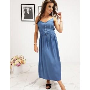 Originálne dámske modré šaty rovného strihu a s designovými gombíkmi
