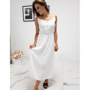 Štýlové dámske biele maxi šaty s designovými gombíkmi