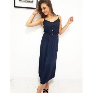 Trendy dámske dlhé tmavo modré dámske šaty s gombíkmi