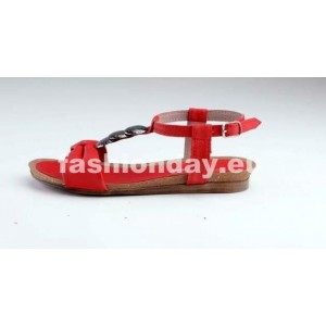 Dámske kožené sandále červené DT076