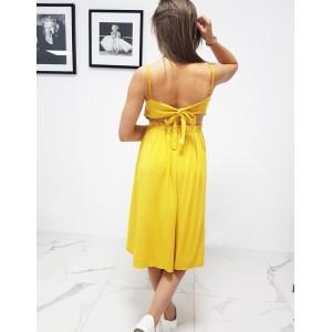 Originálne dámske letné žlté midi šaty s holým chrbtom
