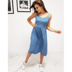 Štýlové dámske modré šaty na leto s designovým viazaním na chrbáte