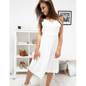 Krásne biele šaty na ramienka s nariasenou sukňou a odhaleným chrbtom