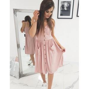 3e0fd08a9 Dámske ružové pásikavé šaty na ramienkami a dvoma trendy vreckami