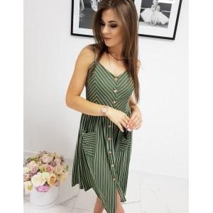 Trendy zelené pásikavé letné midi šaty na ramienka a s gombíkmi