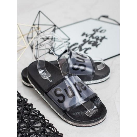 Trendy dámske čierne gumené šľapky na platforme so zirkónmi