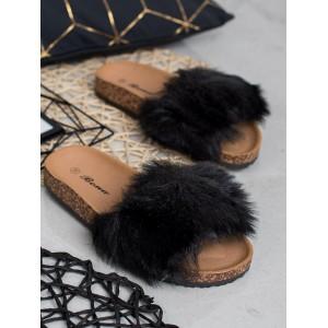 Čierne dámske kožušinové dreváky