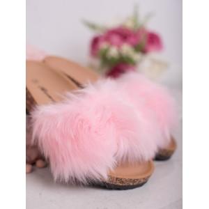 Korkové dámske šľapky s módnou kožušinou v ružovej farbe