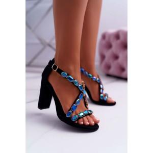 Elegantné čierne dámske sandále