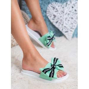 Pohodlné dámske gumené šľapky na pláž zelené s mašľou