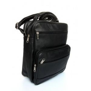 Pánska kožená taška na rameno v čiernej farbe