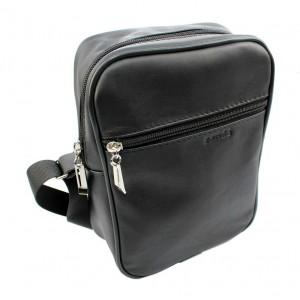 Kožená pánska taška cez rameno v čiernej farbe