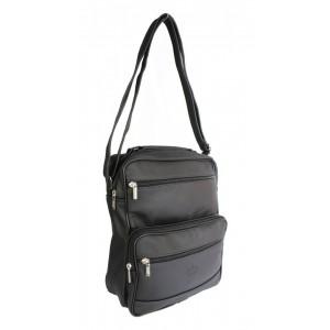 Kožená pánska taška na rameno v čiernej farbe