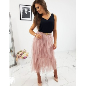 Ružová riasená dámska sukňa