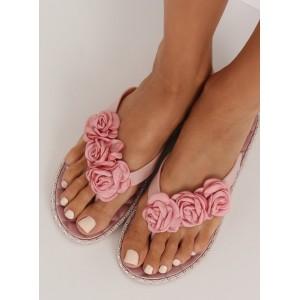 Dámske gumené kvetinové žabky ružovej farby