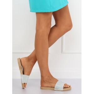 Trendové dámske šľapky striebornej farby
