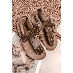 Hnedé dámske sandále na platforme