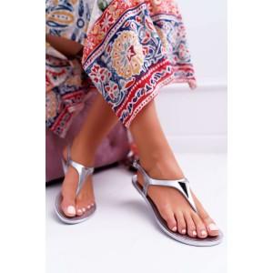 Strieborné dámske sandále