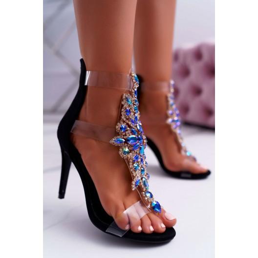 Vysoké dámske sandále zdobené kamienkami
