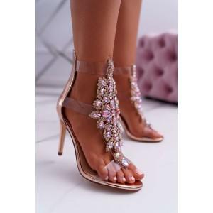 Ružové kamienkové sandály na ihlicovom podpätku