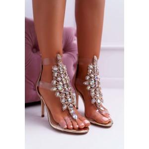 Luxusné zlaté sandály zdobené kamienkami