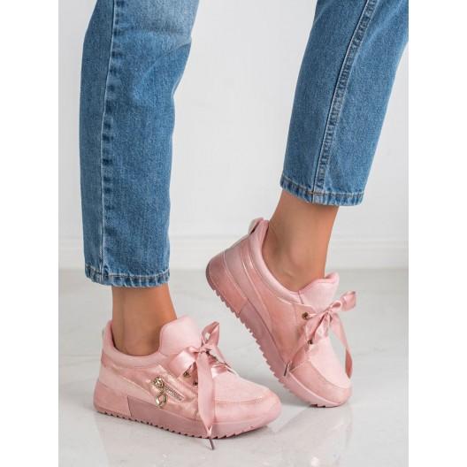 Ružové dámske tenisky s elegantným viazaním