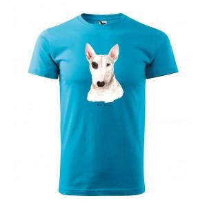 Štýlové pánske tričko s potlačou psa bullteriéra