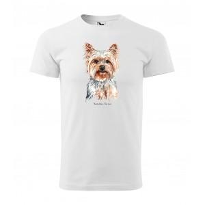 Kvalitné bavlnené pánske tričko s potlačou psa yorkshire teriér