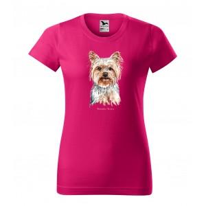 Bavlnené dámske tričko s potlačou psa yorkshire teriér