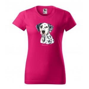Moderné dámske tričko pre milovníčky psieho plemena dalmatínec