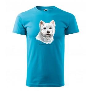 Kvalitné bavlnené tričko pánske s potlačou westhighlandského teriéra