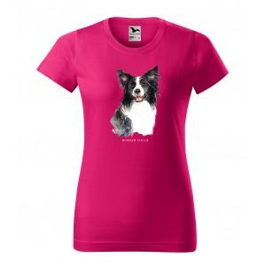 Dámske bavlnené tričko s módnou potlačou psa borderská kólia