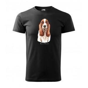 Originálne pánske bavlnené tričko s potlačou poľovníckeho psa basset