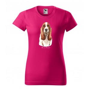 Trendy dámske bavlnené tričko s potlačou poľovníckeho psa basset