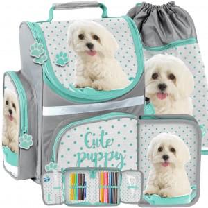 Originálna trojčasťová ergonomická školská taška pre deti s motívom psa