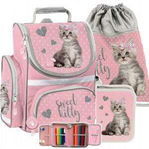 Ružová školská taška pre dievčatá v krásnej trojdielnej sade