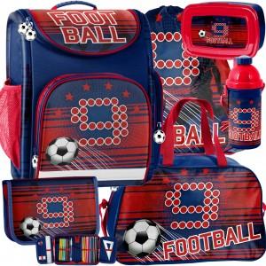 Červená ergonomická školská taška pre chlapcov v mega šesťdielnej sade