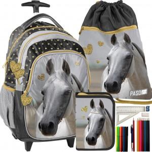 Dievčenská školská taška pre dievčatá v trojsade s motívom koňa