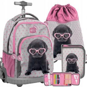 Školská taška pre dievčatá s motívom psíka v mega trojčlennej kombinácii
