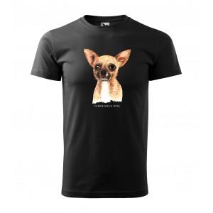 Štýlové pánske tričko bavlnené s potlačou psa čivava