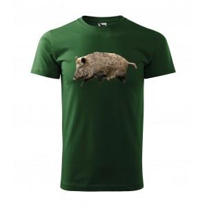 Originálne pánske bavlnené tričko pre poľovníkov s potlačou diviaka