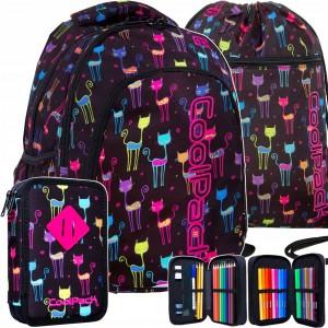 Trojčlenný školský batoh pre stredoškolákov s motívom farebných mačiek